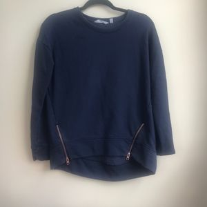 Athleta XS NavyBlue Pullover w. Rose Gold Zippers